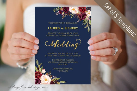 Navy Blue And Gold Wedding Invitations: Printable 5 Navy Gold Wedding Invitation Cards Burgundy