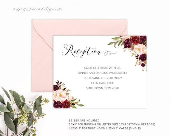 Burgundy Floral Wedding Reception Card Template Printable Etsy