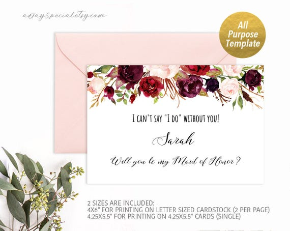 Burgundy Floral All Purpose Proposal Card Template Printable Etsy