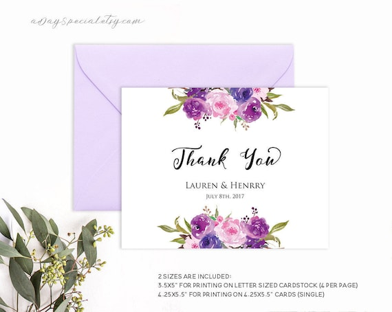 Lavender Thank You Card Template Purple Lilac Watercolor Etsy