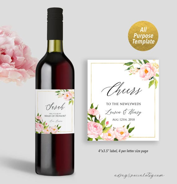 Pink Peony Wedding Wine Bottle Label Template Printable Etsy