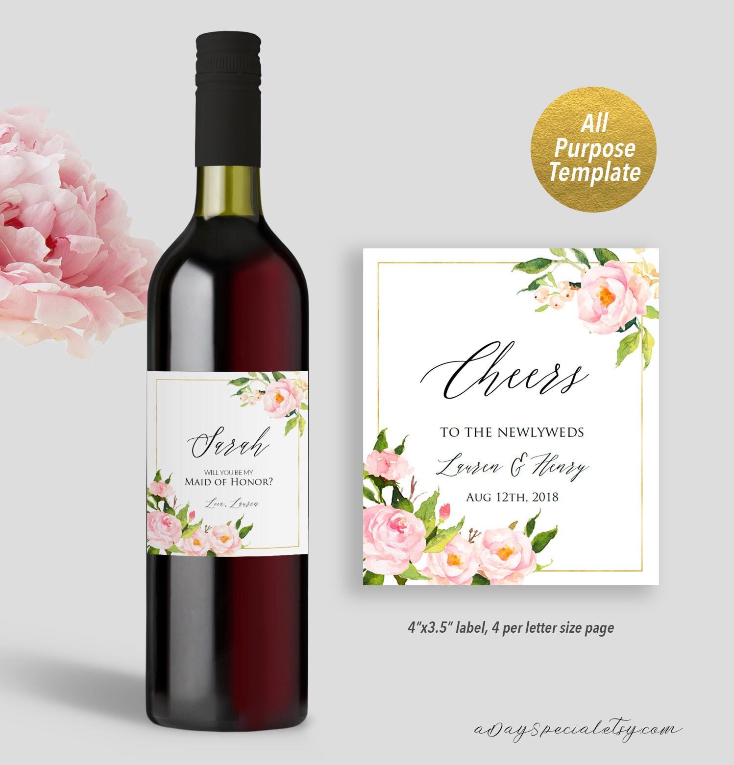 Wedding Wine Bottles: Pink Peony Wedding Wine Bottle Label Template Printable