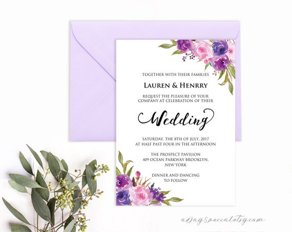 Lavender Invitation Template Purple Lilac Watercolor Flowers Etsy