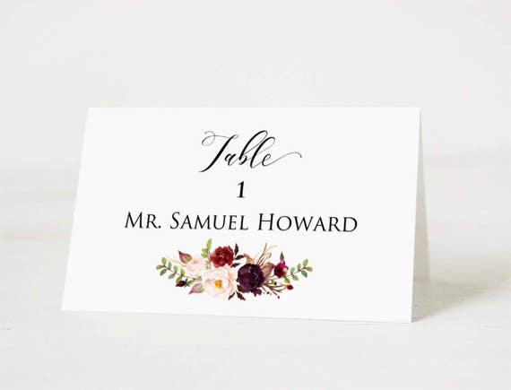 Floral Wedding Table Number Name Download PDF #101 Burgundy Wedding Printable Wedding Place Cards Template Wedding Place Card Printable