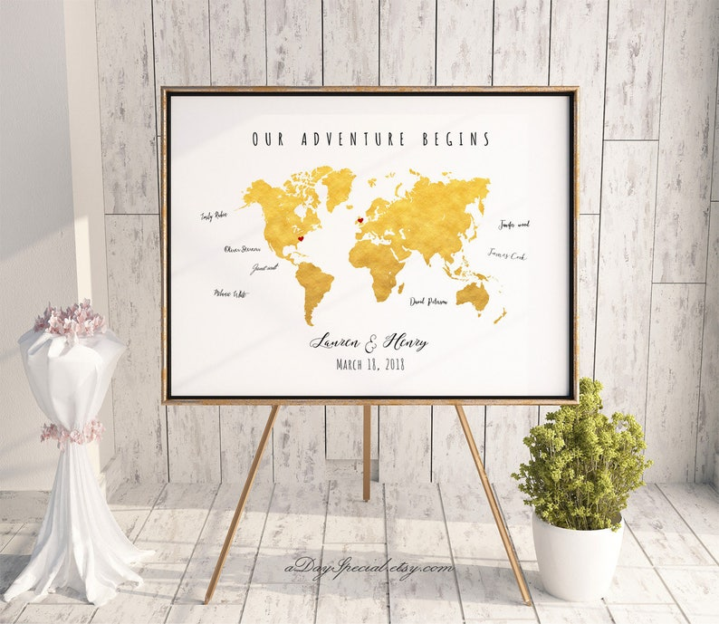 Printable Gold World Map Wedding Guest Book, Editable PDF Template, DIY  Personalized Large Print, 24x36 18x24 16x20, Instant Download