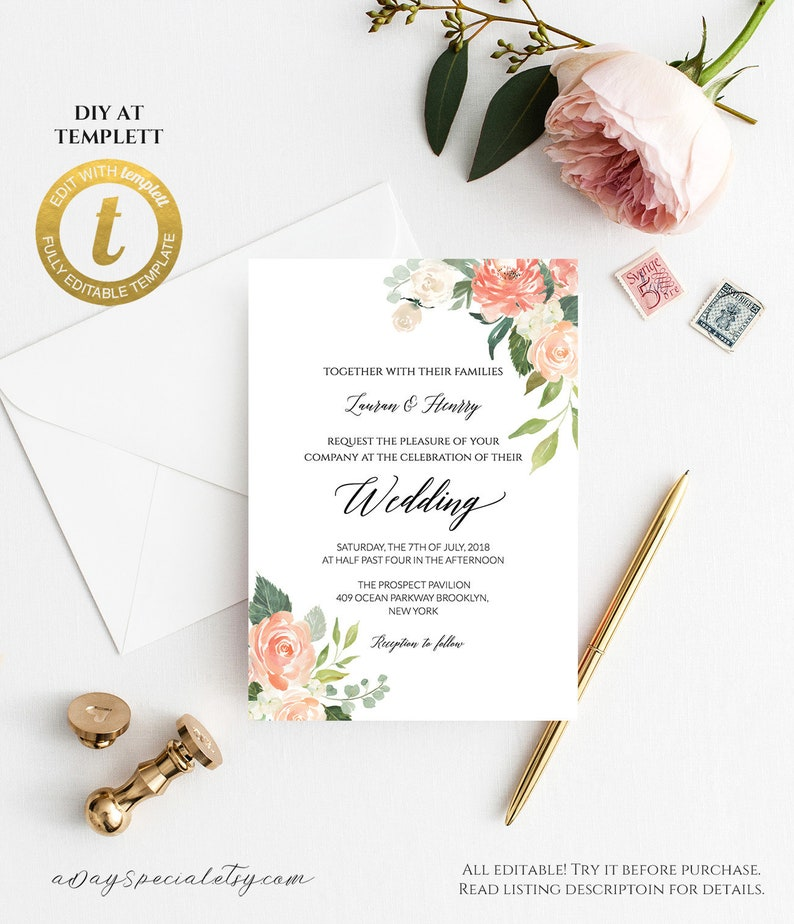 All Editable Peach Cream Floral Wedding Invitation Template Printable Double Sided Bridal Shower Invite Vistaprint Edit At Templett 106