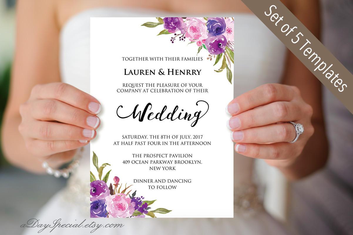 50: Lilac Wedding Invitation Template At Reisefeber.org