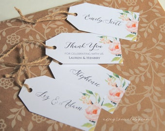 Peony Gift Tag Template, Printable All Purpose Floral Wedding Thank You Tag, Name Tag, Favor Tag, Emblem, Rustic DIY PDF Download #104#118