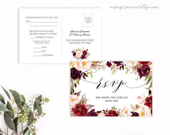 Burgundy Floral Rsvp Postcard Template Printable Double Sided Wedding Rsvp Card Vistaprint Rustic Boho Diy Pdf Download 101