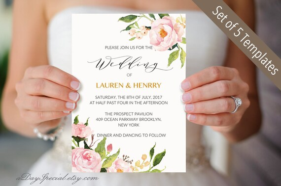 5 peony wedding invitation templates printable wedding etsy