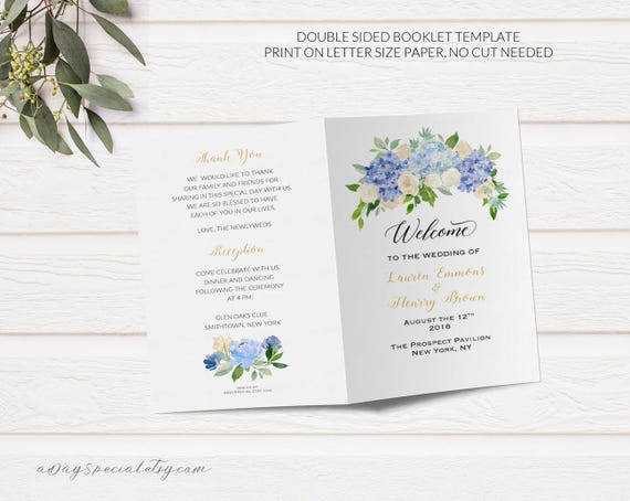 Folded wedding program booklet template printable blue and for Nbc page program cover letter