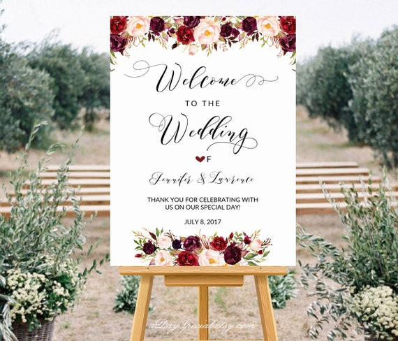 Printable Wedding Welcome Sign Templates Floral Wedding Sign Etsy