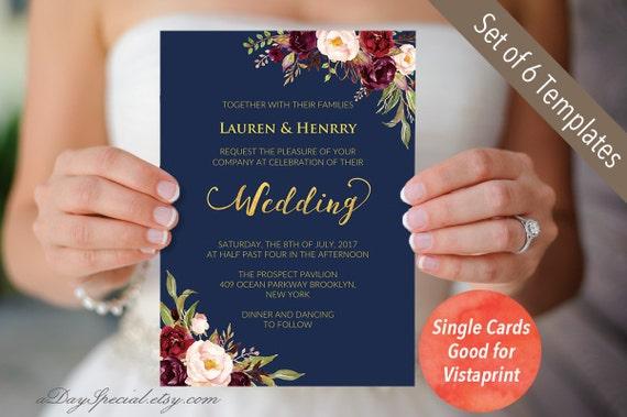4 double sided navy wedding invitation set templates etsy