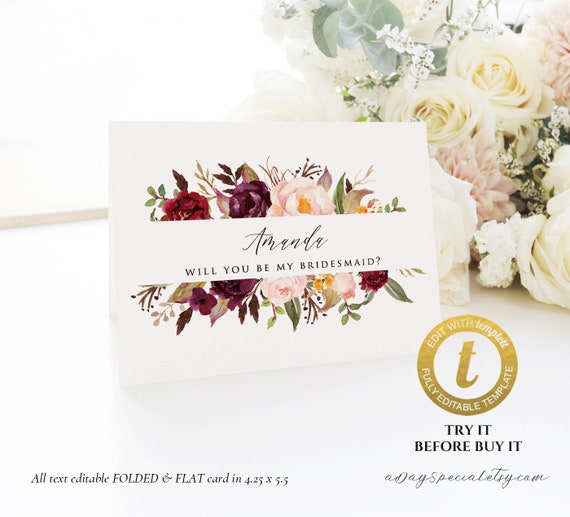 Burgundy Floral Folded And Flat Proposal Card Template Etsy