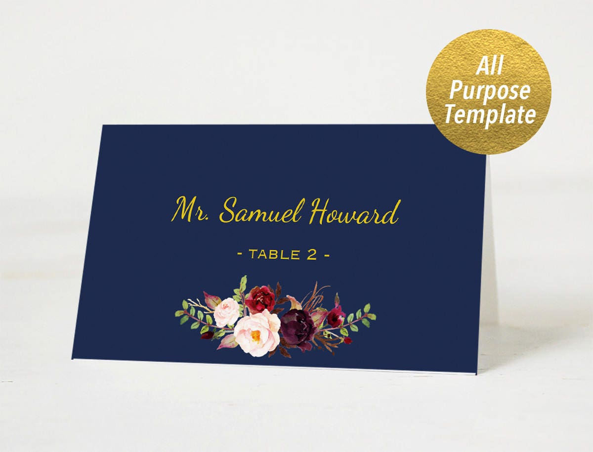 All Purpose Navy Wedding Place Cards Template Printable Etsy