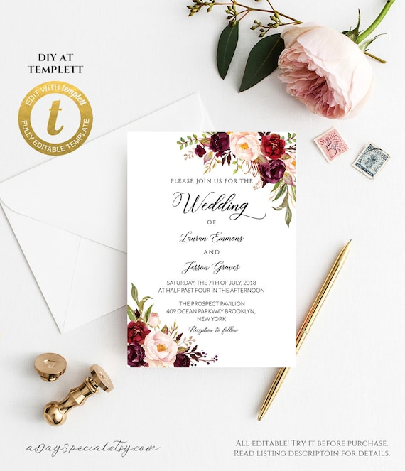 Wedding Invitations Vistaprint.All Editable Burgundy Floral Wedding Invitation Template Printable Double Sided 5x7 Invite Vistaprint Edit At Templett 101 115 105