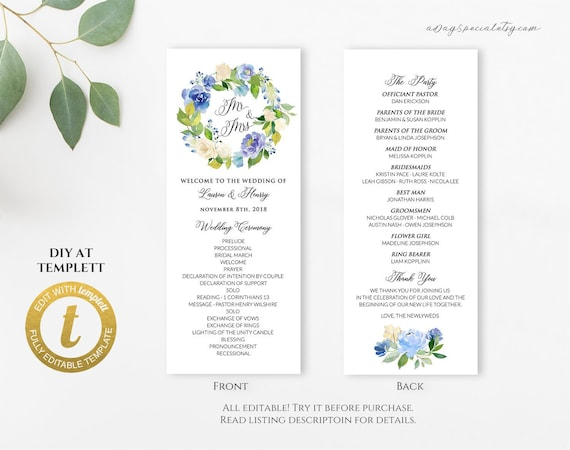 All Editable Blue Cream Floral Long Program Template | Etsy