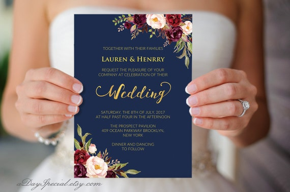 Wedding Invitations Vistaprint.Printable Navy Wedding Invitation Burgundy Boho Floral Gold Foil Wedding Invitation Template Double Sided Vistaprint Diy Pdf Download 109