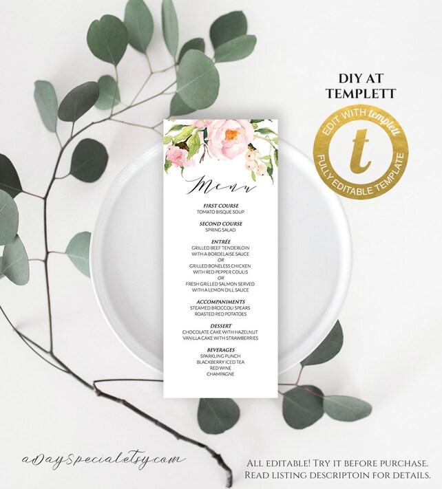 All Editable Pink Peony Floral Long Menu Template Printable Wedding Vistaprint Rack Card