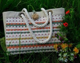 Handmade crochet bag in natural color. Basket style handbag. Cotton and linen bag. crochet shoulder bag. Tote bag.