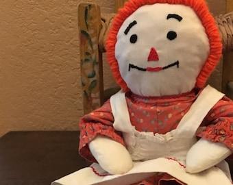 "Vintage Raggedy Ann Rag Doll, Handmade, Rustic, Apron, Dress, ""I love you"" Embroidered Heart, Orange Hair,"