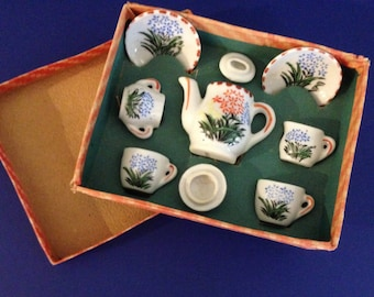 Vintage MiniatureTea Set, Hand Painted China in Original Box Blue, Green, Yellow, Orange Complete Set