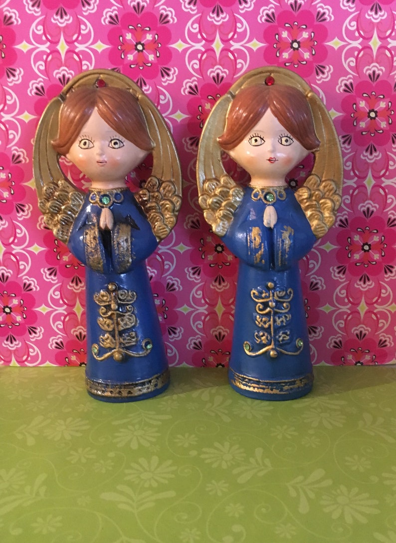 Retro Christmas Decor kitsch Vintage Ardco Angels Set of 3 Paper Mache Made in Japan