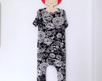 0dd479ae1abb Harem kids romper   overalls   rose print jumpsuit   baby   toddler black  floral kids romper   jumpsuit - skinny leg fit   boho baby