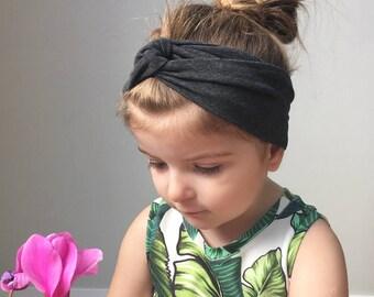 ba8bbc769c6 Baby turban head wrap   dark grey headband   toddler turban headband    jersey headband   baby turban   kids head wrap