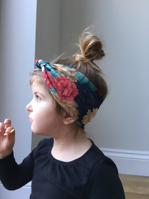 Floral print head wrap   baby boho knot headband   toddler  d8353661852