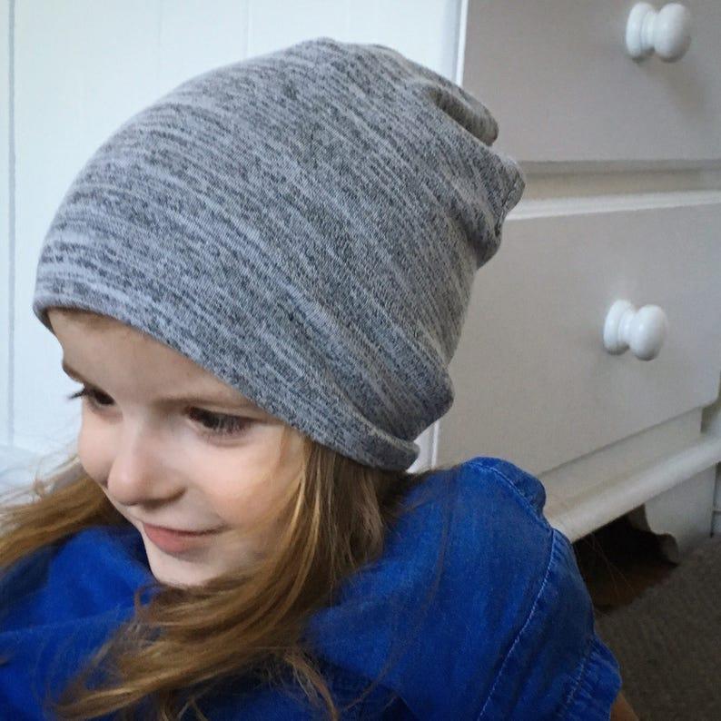 e309b9ba5b7 Slouchy Beanie   baby beanie hat   kids grey jersey knit hat