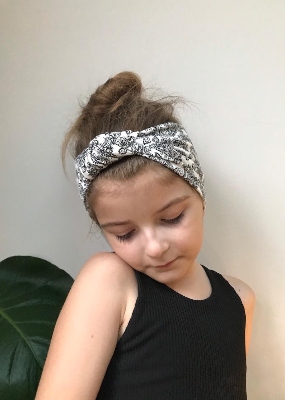 paisley print head wrap  knot turban headband  baby  toddler monochrome head wrap  top knot  girls turban head band