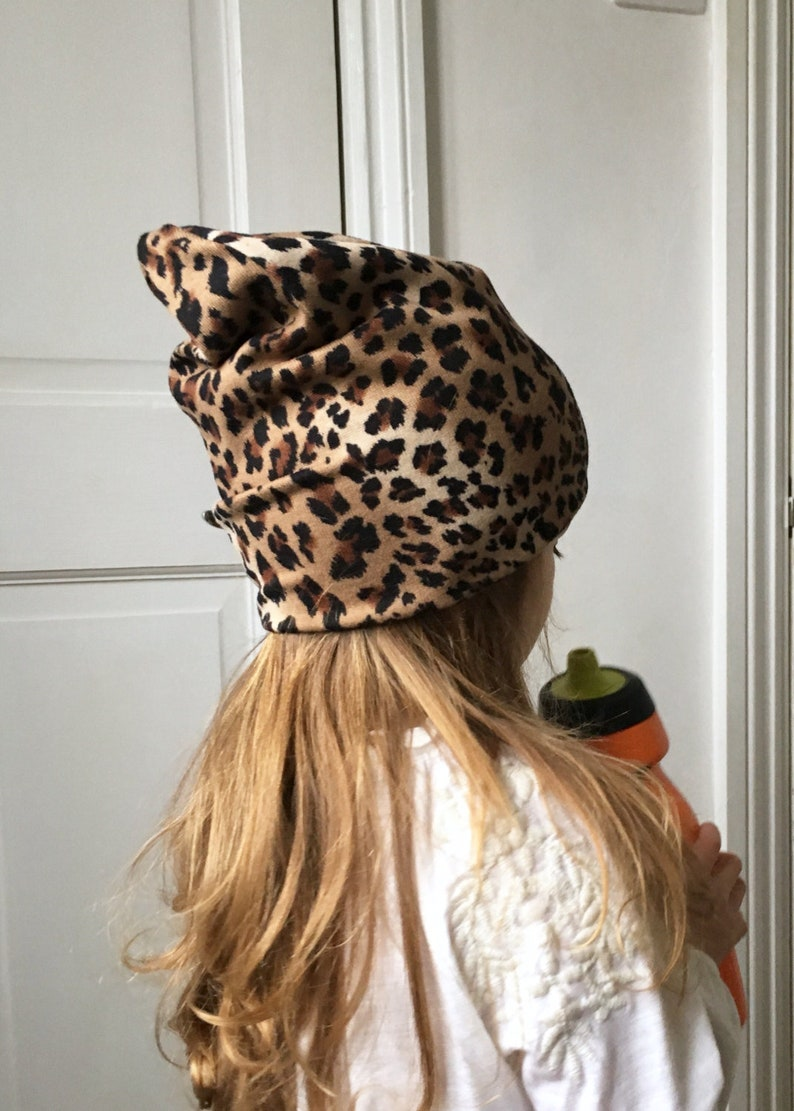 0553b0091f9b4 Leopard print Beanie   baby beanie hat   kids jersey knit hat