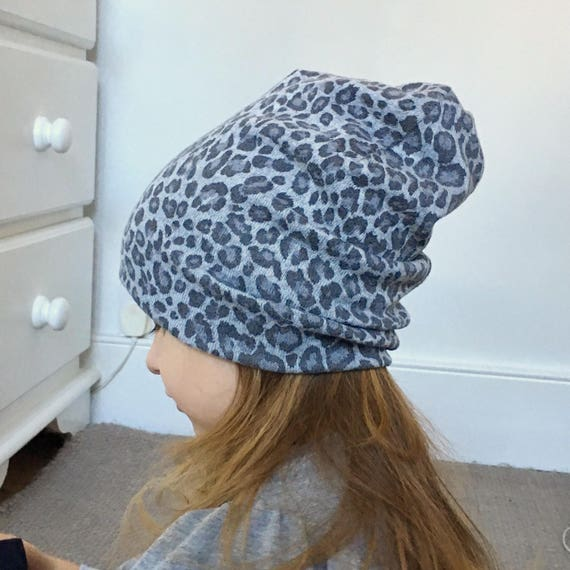 be9df17b9e4 Leopard print beanie   baby beanie hat   jersey warm wool feel