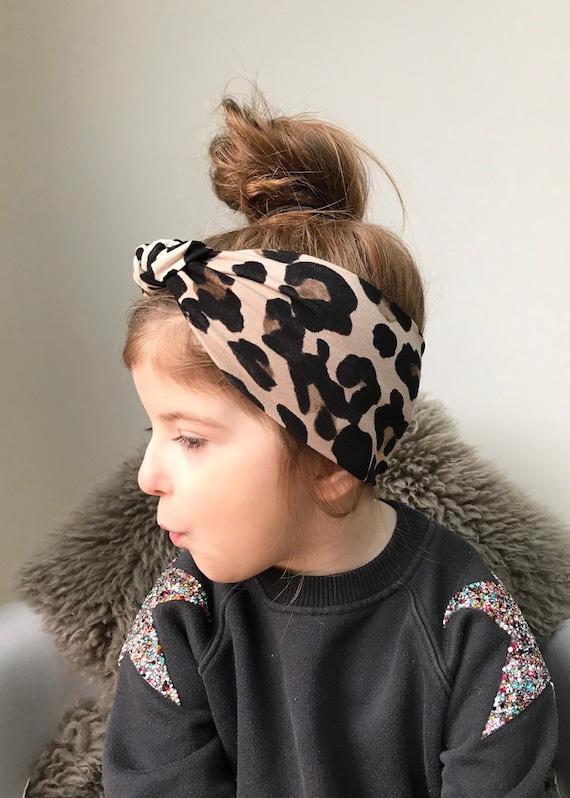 Leopard Print Top Knot headband-Tie Knot Headwrap AU SELLER