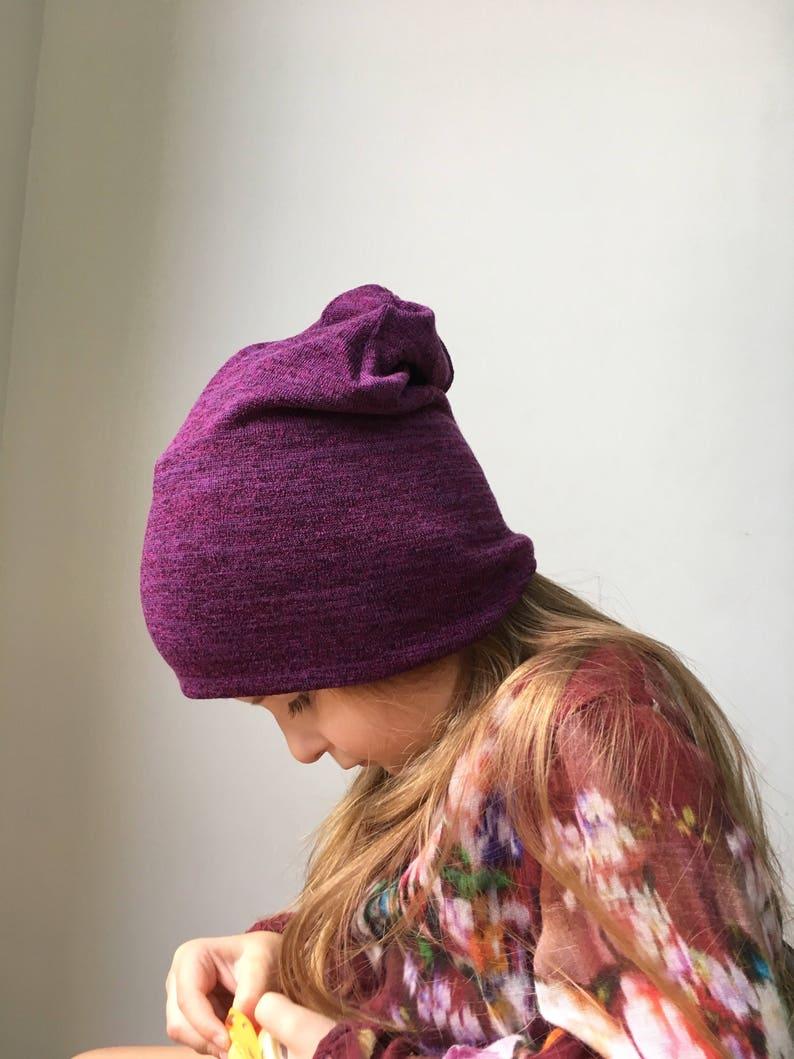b11c7b4f6ff Purple plum Slouchy Beanie   baby beanie hat   kids jersey