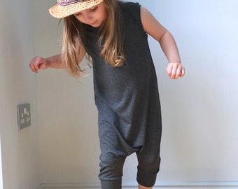 Harem style romper / grey short romper jumpsuit / drop crotch unisex overalls / sleeveless romper / unisex baby harem / loungewear