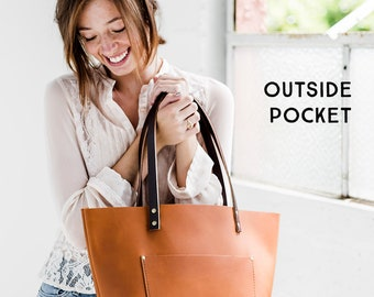 SADDLE Leather Tote HUGE SALE  - Leather Bag Handmade in Portland, Full-Grain Cowhide- Award Winning Leather Tote Portland Leather Goods