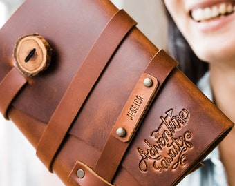 50% OFF Adventure Awaits...Fire Branded Leather Journal....Refillable Notebook Made in Portland, Oregon...SALE!