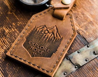 Leather Luggage Tag -- Explore More -- Travel Bag Luggage Tag Personalized luggage tag -- Made in Portland Gift for Men Travel Leather tag