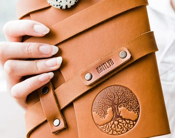 50% OFF Spring SALE --  Personalized Leather Journal -- Tree of Life Firebrand Custom Leather Notebook Refillable Handmade Portland, Oregon!