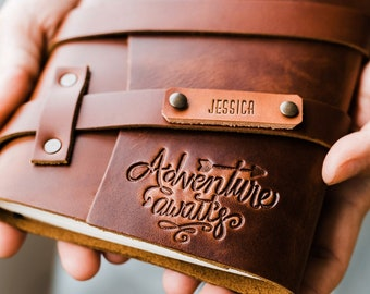Personalized Leather Journal Fire-Branded Custom Stamp -- Handmade in Portland SALE
