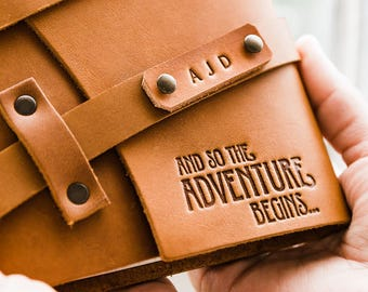 50% OFF Spring SALE ... Premium Leather Journal -- Fire-Branded Adventure Begins -- Handmade in Portland... Sale Today