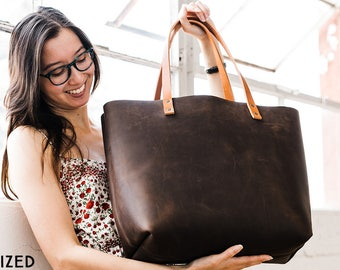 NATURAL CHARACTER Tote --- Full-Grain Leather Tote Bag • HUGE 60% Off Sale • Quantities Limited, Don't Delay!