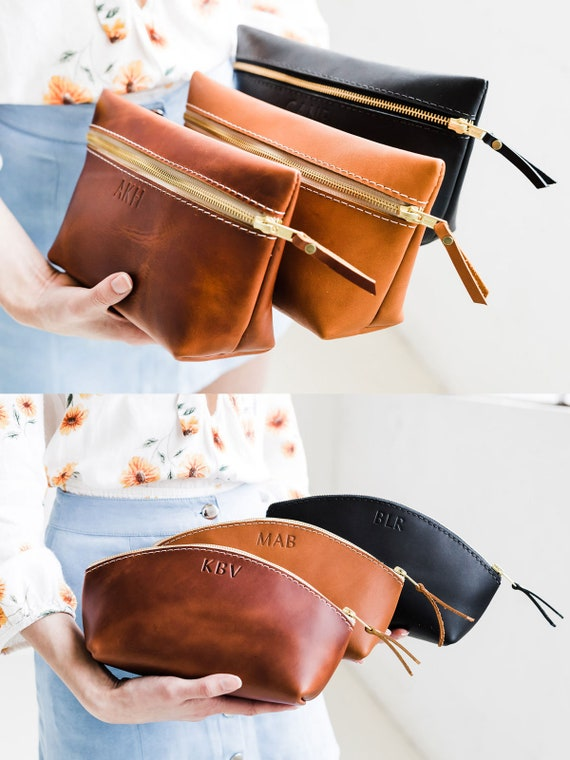 Makeup Bag Custom Leather Bag With Monogram Women's Bridesmaid Gift Personalized Gift For Her Girlfriend Makeup Bag Portland * by Etsy