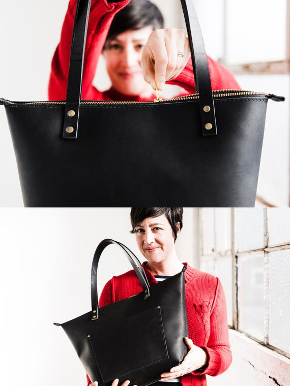 60% Off Leather Tote Bag HUGE SALE Tote with Zipper and   Etsy b1beae0412