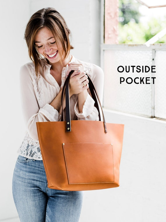 60% Off Leather Tote Bag HUGE SALE Tote with Zipper Upgrade   Etsy d302ccf286