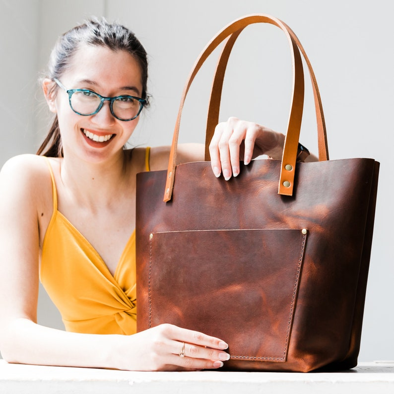 7b6e17a09bcc1 ALMOST PERFECT Leather Tote Bag HUGE Sale Tote with or   Etsy
