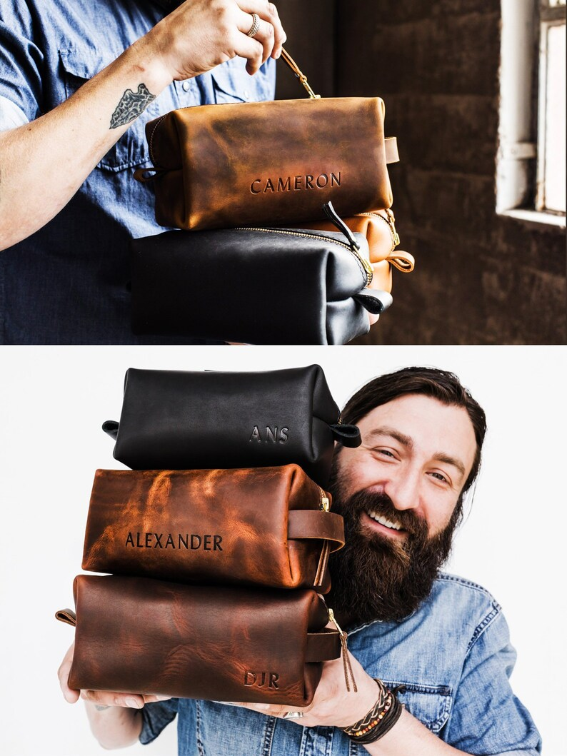 Personalized Groomsmen Gift A Dopp Kit Bag Customized Leather image 0