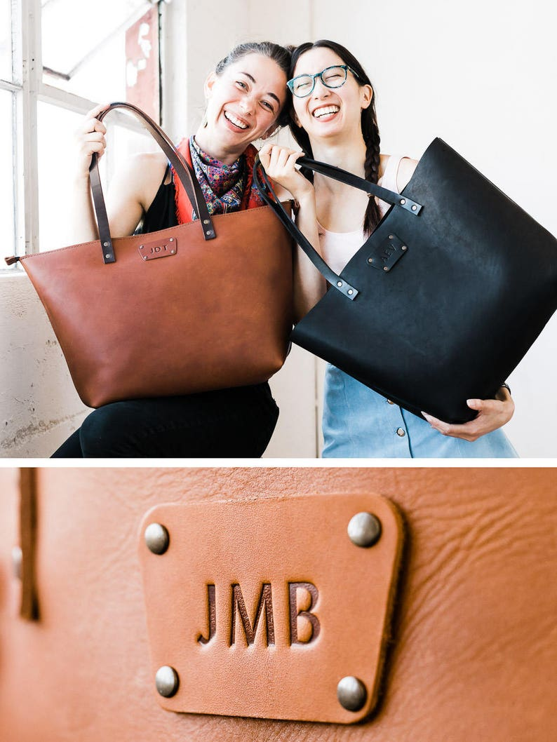 ADD Initials to Tote Monogram Badge Personalize your Leather image 0